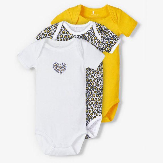 Боди (3 шт) Name it Love leopard, арт. 201.13173252.GROD, цвет Оранжевый
