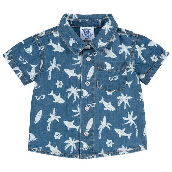 Рубашка Chicco Friendly shark, арт. 090.66533.085, цвет Голубой