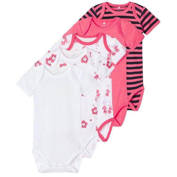 Боди (5 шт) Name it Flamingo, арт. 203.13178160.CCOR, цвет Коралловый