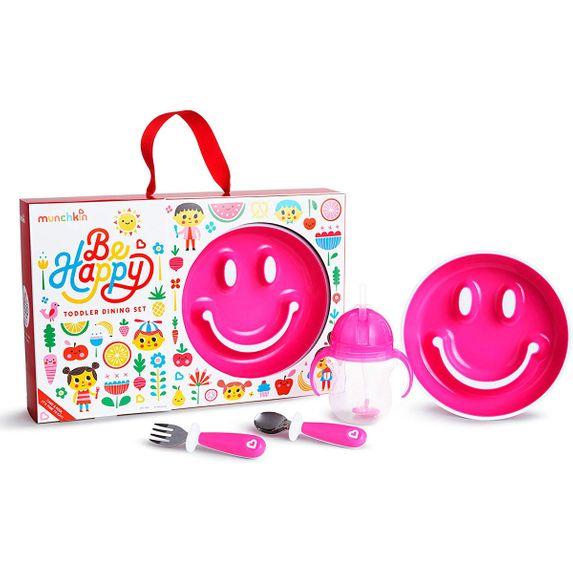 """Набор посуды Munchkin """"Be happy"""", арт. 051895, цвет Розовый"""