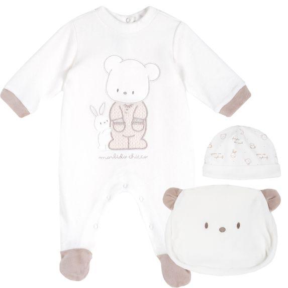 Комплект Chicco First friends: комбинезон и шапка, арт. 090.76556.030, цвет Белый