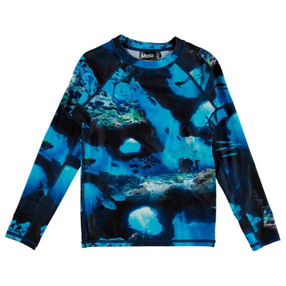 Футболка-рашгард для купания Molo Neptune Cave Camo, арт. 8S20P202.6036, цвет Синий